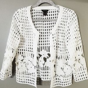 Multiples white polyester cutout top S